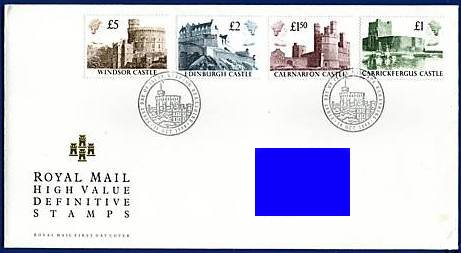 1988 GB - FDC - Castles 1st Series Harrison £1 to £5 (Addressed)